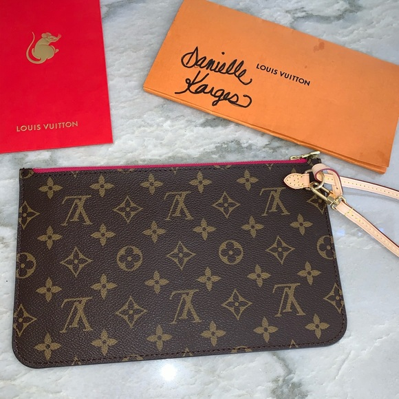 Sold- New Louis Vuitton Neverfull pouch peony